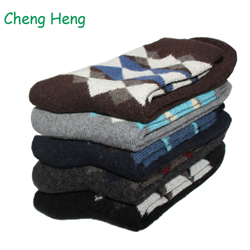 10 Pair Rabbit Wool Blended Winter Warm Mens Socks Deodorant Soft Anti-Bacterial Business Casual Multi Rhombic Prints Male Sock