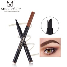 MISS ROSE 4 Fork Liquid Eyebrow Pencil Waterproof Natural Enhancer Cosmetic Long Lasting Eye Brow Tint Eyes Makeup Tool