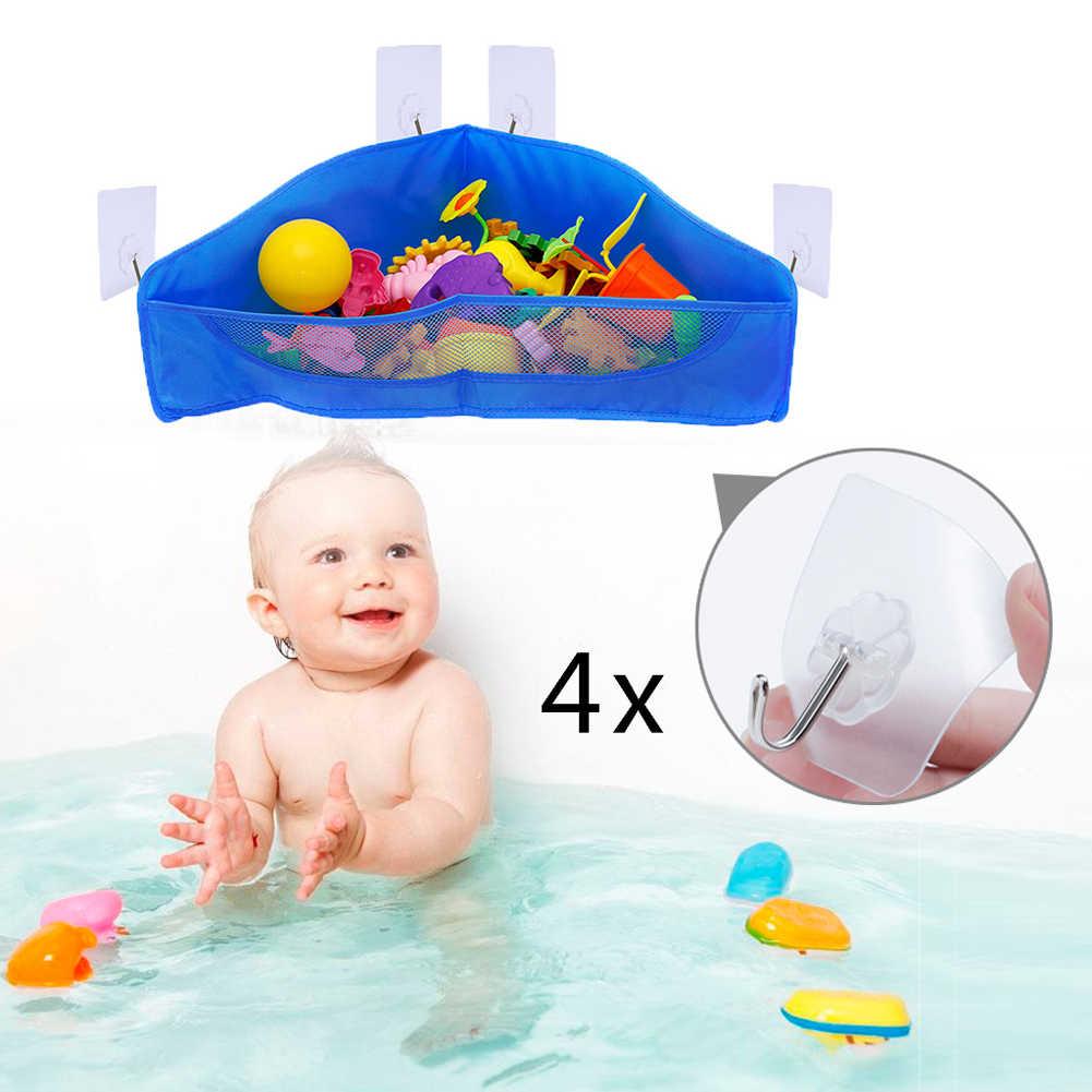 Bolsos Saco De Armazenamento Titular Container Organizador Economia de Espaço Crianças Durável Sucção Cesta Dobrável Net Banho de Brinquedo Pendurado