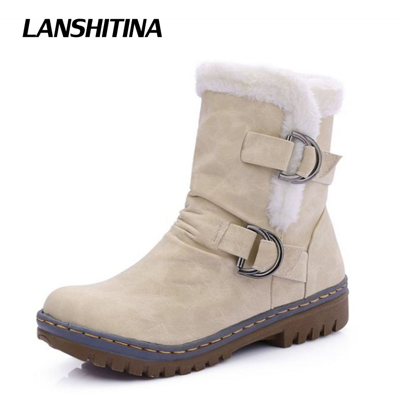 LANSHITINA Women Half Boots Winter Short Boot Warm Shoe Flat Botas Mujer Snow Boots Buckle Fashion Round Toe Shoes Boots Y48