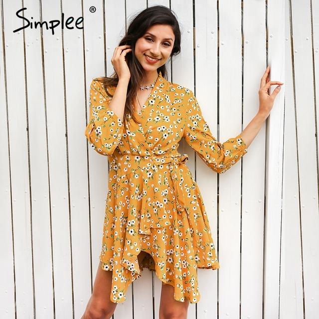 Simplee Deep V boho beach summer dress women Vintage lace up ruffle sexy dress Flower chiffon short  dress vestidos de festa