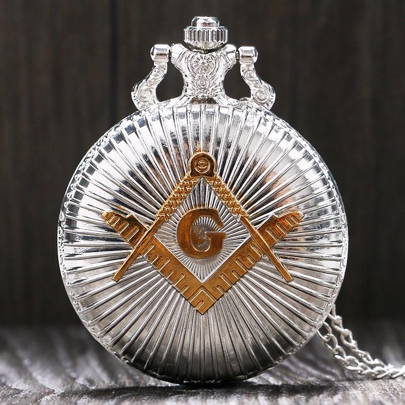 Fashion Luxury Masonic Freemason Freemasonry Vintage Silver Analog Quartz Pocket Watch With Necklace Chain For Women Men Gifts