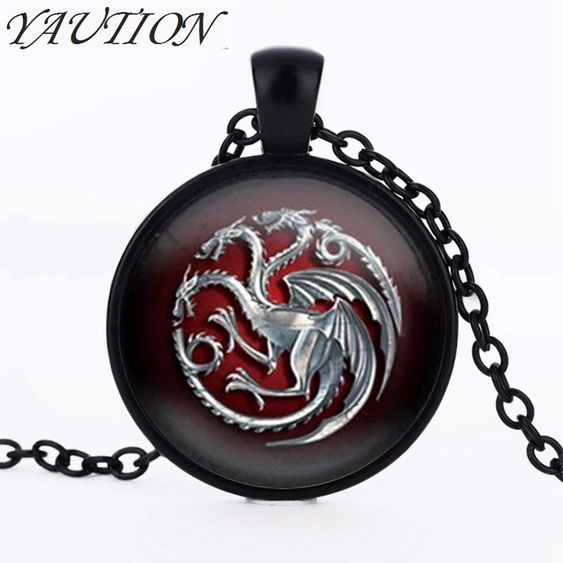 Necklace for Men Glass Pendant Game Of Throne Famille Targaryen Glass Movie Choker Necklace Bijoux Summer Style Vintage Movie Jewelry