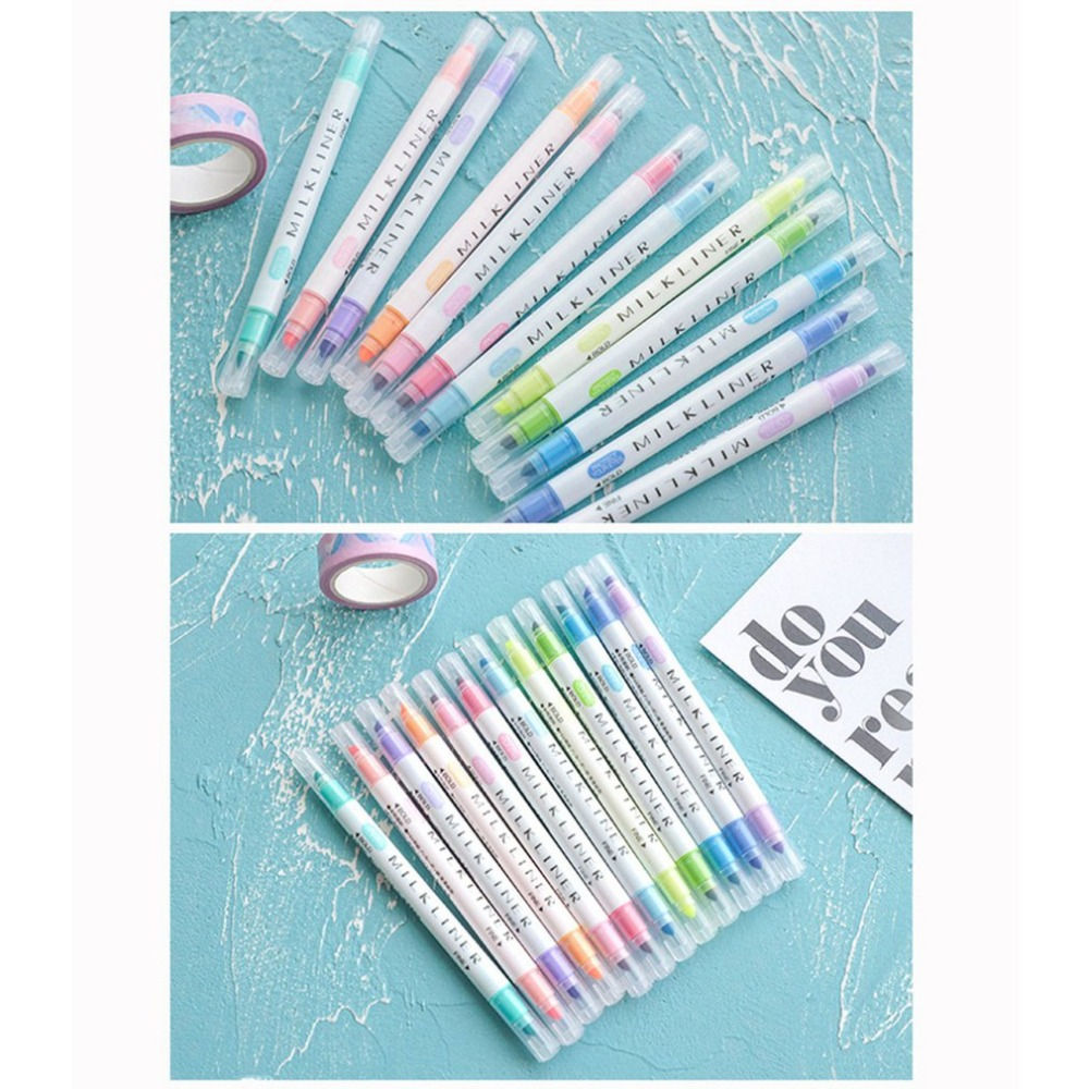 Highlighter Marker Pen Fluorescent Pen Student Drawing Pen Milkliner Headed 12x
