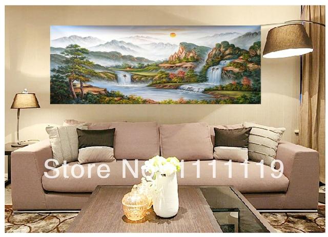 Dipinto a mano Foto Su Tela di Montagna Pittura a Olio di Paesaggio ...