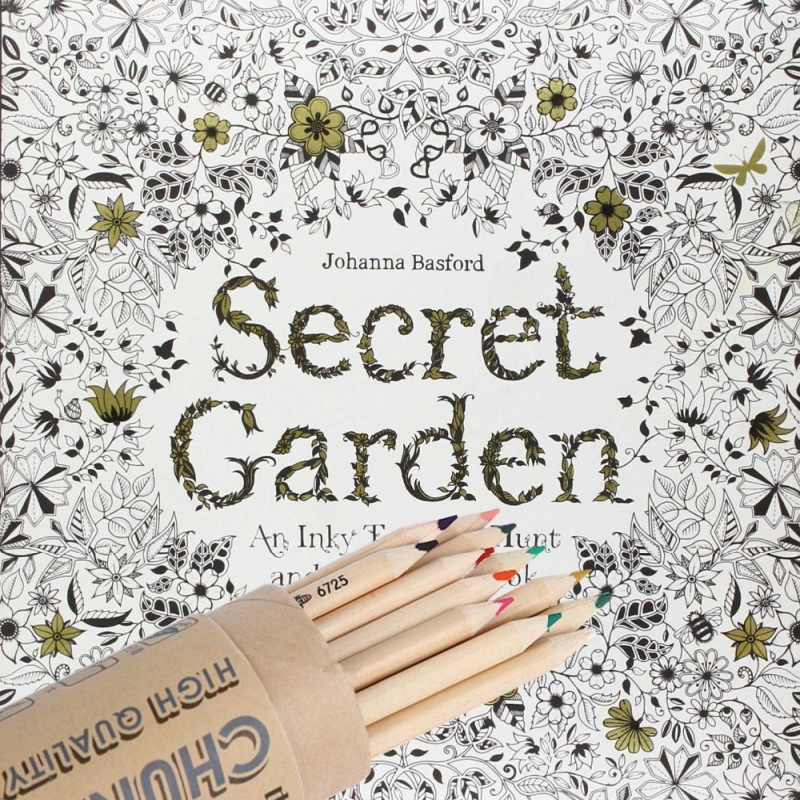 96pages secret garden 12 pcsset color pencil fashion coloring book for adult kids - Kids Painting Book