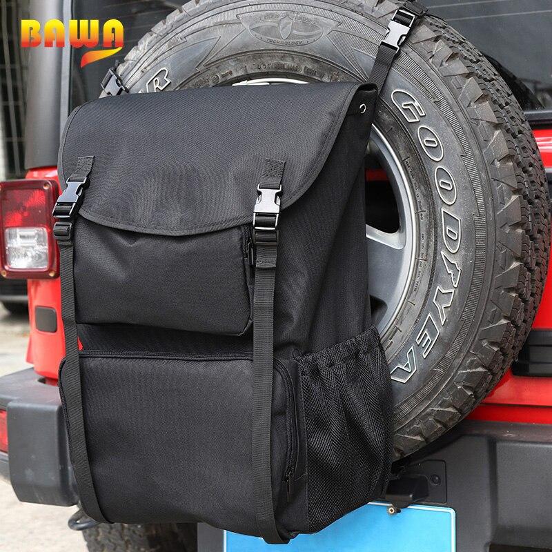 BAWA Stowing Tidying Car Organizer for Jeep Wrangler JL JK TJ 1996-2018 Universial Black Spare Tire Bag Auto Organizer