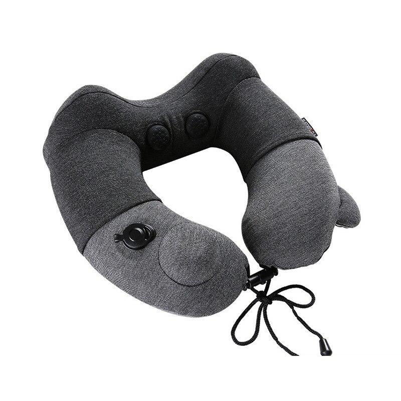 Masseur de cou en forme de U cervicale noir + gris foncé oreiller de Massage multifonctionnel USB Vibration coton Massage doux soins de santé