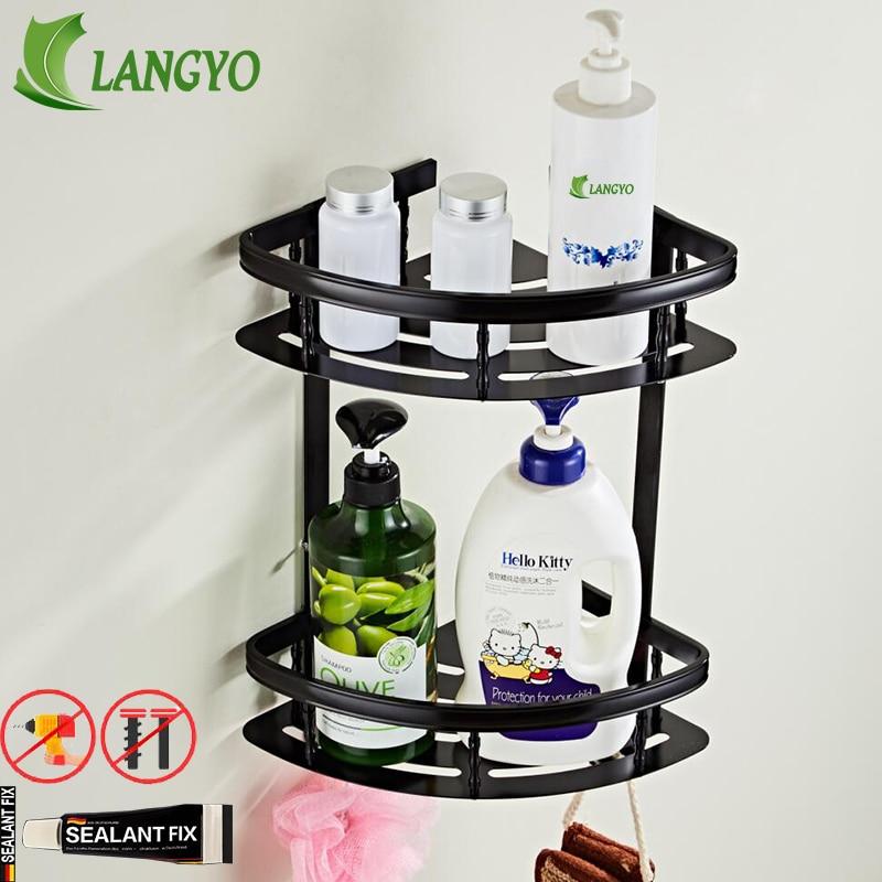 Espace libre pour les ongles matériel de salle de bains crochet étagère plateau de douche piles paniers support cosmétique porte-shampooing trou installation gratuite