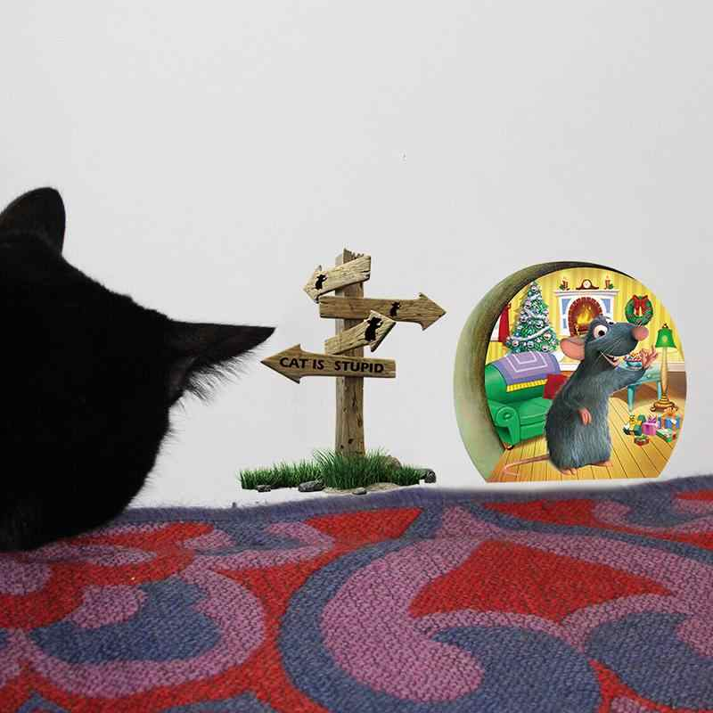 Kreskówka ścienna naklejki świąteczne dekoracje Home Decor 3D śmieszne mysia dziura kot jest głupi naklejka ścienna do tapety pokoje dla dzieci