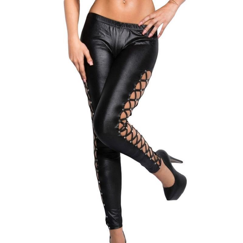 Black Red Criss-Cross Lace Up Sides Elastic Stretch Workout Leggings Faux Leather Fall Punk Rock Leggings Autumn Long Trousers