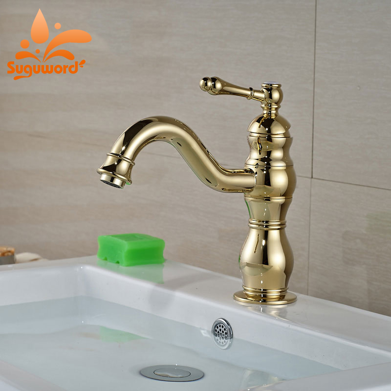 Suguword Golden Basin Faucet Classic Deck Mounted Mixer Taps with Hot and Cold Water one Hole стоимость