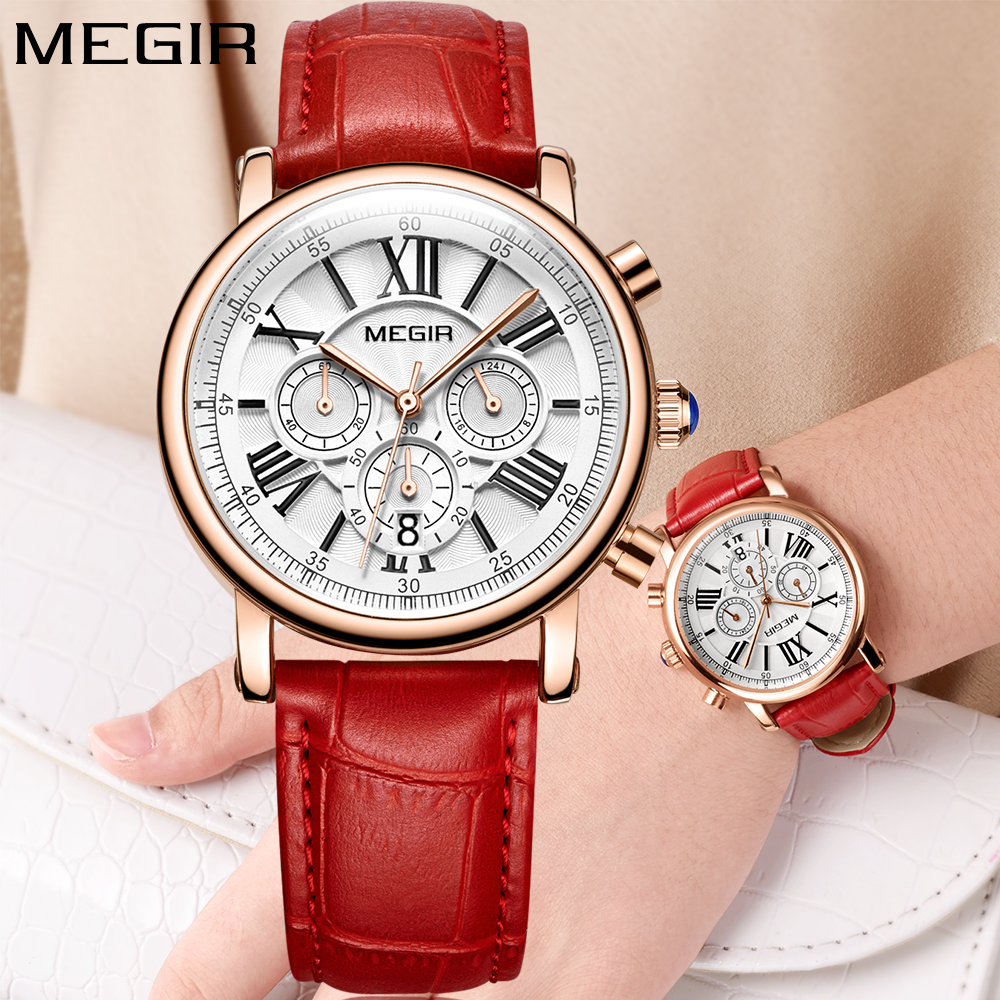 MEGIR Women Watches Rose Gold Top Brand Luxury Chronograph Quartz Sport Wrist Watch Red Leather Ladies Watch relojes para mujer 2018 time100 women watches chronograph diamond auto date sport leather strap casual quartz wrist watches for women relojes mujer