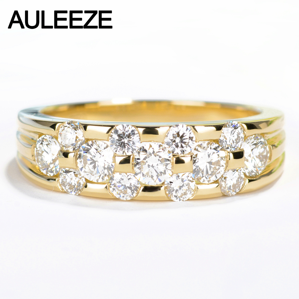 Auleeze Unique 1cttw White Real Diamond Rings For Women Au750 18k Yellow  Gold Natural Diamond Wedding