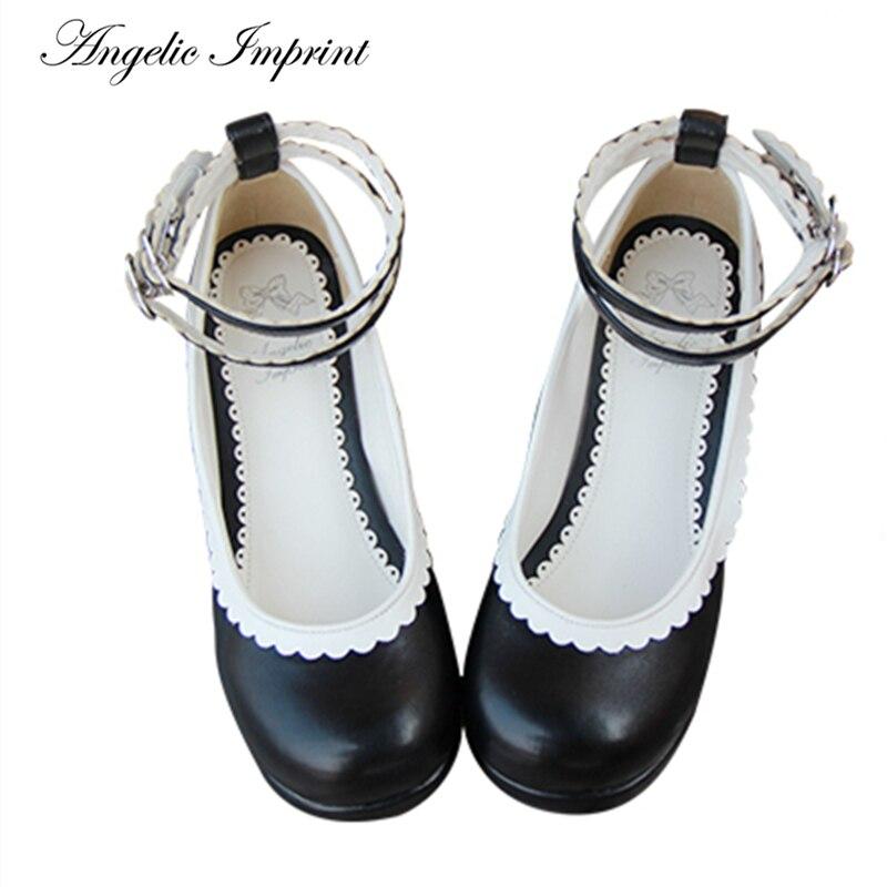 Lolita Double bride à la cheville doux dentelle garniture talon épais plate-forme pompes femme de chambre Cosplay blanc cuir chaussures 9801