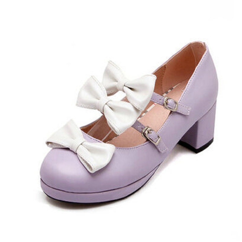 Plus Size 34~43 Girls Sweet Pink White Bow Women's Lolita Mary Janes Pumps Ankle Strap Mid Heel Princess Shoes Woman lovely smilling kitty face faux wooden wedge lolita shoes ankle strap sweet pink girls shoes