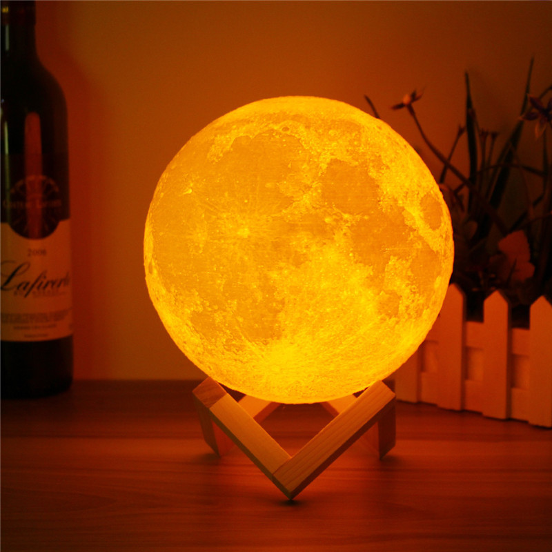CHICLITS Moon Lamp LED Magical Moon Night Light 10cm 3D USB Table Desk Touch Sensor Color Changing Home Bedroom Decoraction Gift