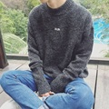 2016 winter leisure trend of new render small letter sweater turtleneck sweater gray/black