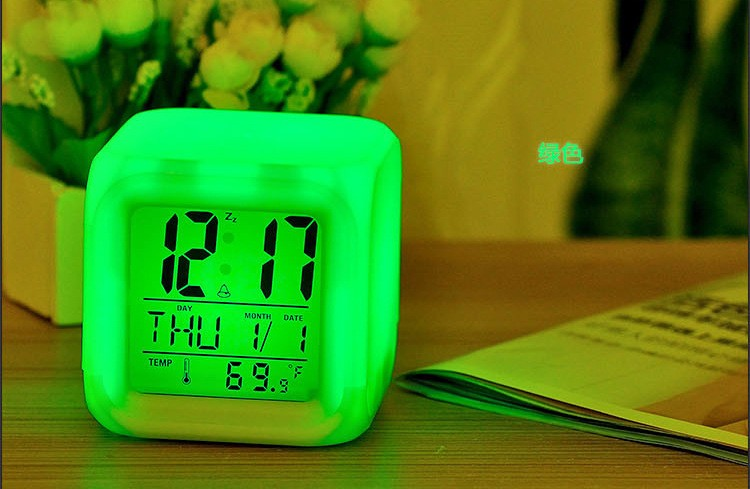 Clocks 2016 Multi-function Led 7 Color Glowing Change Digital Alarm Clock Led Watch Glowing Alarm Thermometer Clock Cube Numerous In Variety