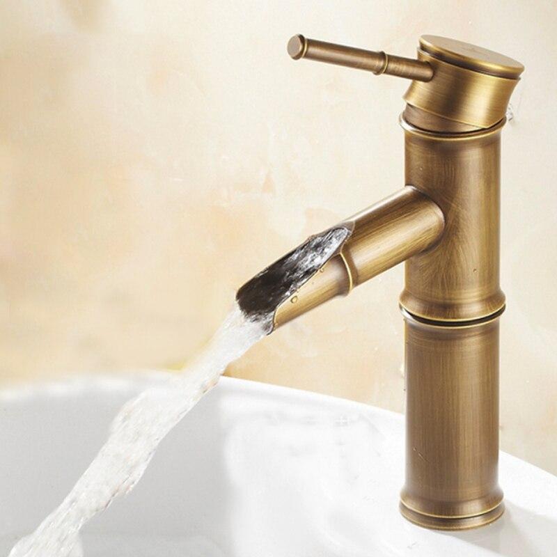 Кран для ванной комнаты, латунные смесители для раковины, роскошный кран, высокий бамбук, горячая и холодная вода, с двумя трубами, кухня, отк...