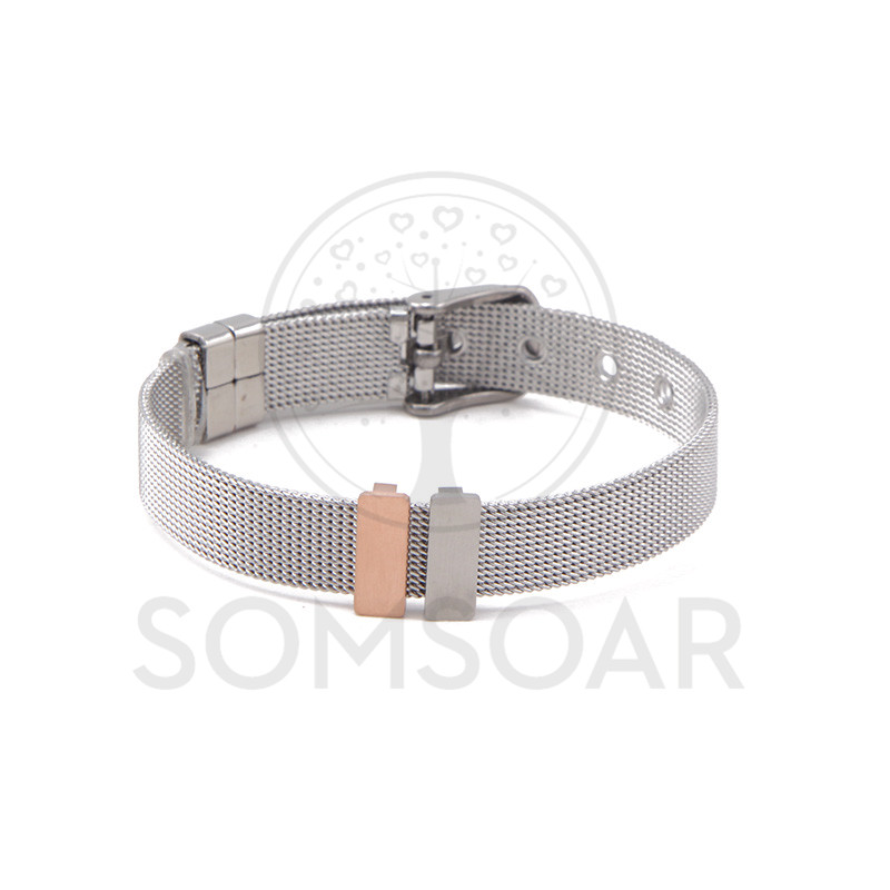 Somsoar OEM Personalized customized Slide Charms MINI ENGRAVABLE BAR charms Stainless Steel Story Keys fit Mesh Bracelet