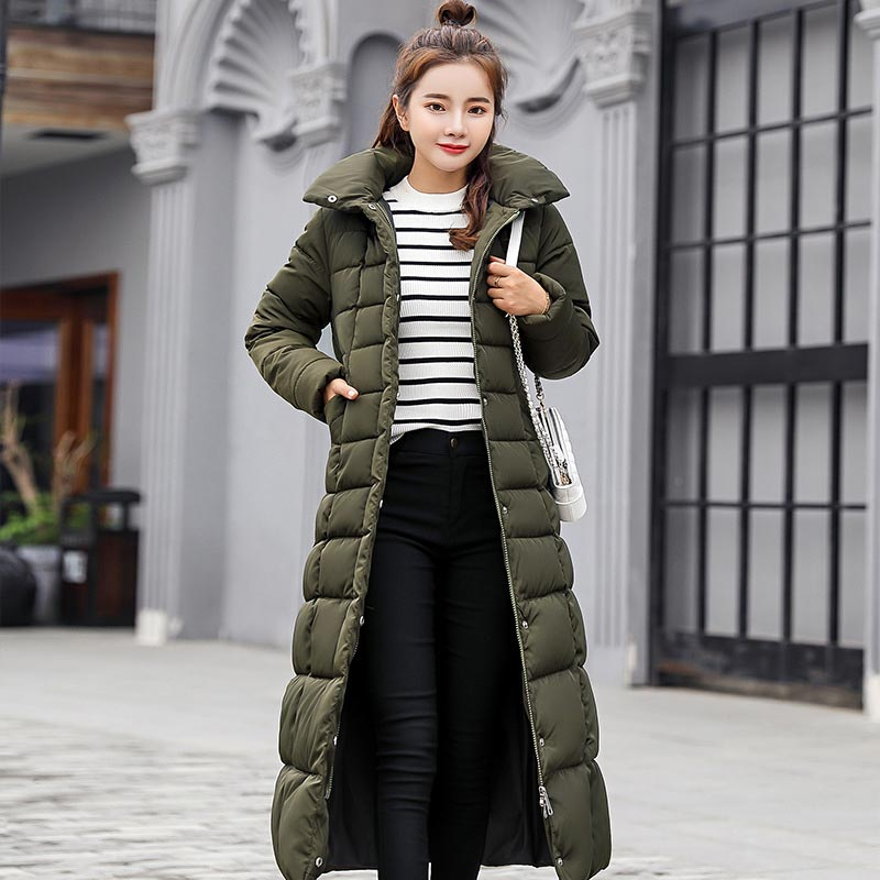 Winter jacket women   parkas   high quality winter female coat 2018 fashion long slim solid color women jacket   parkas   plus size
