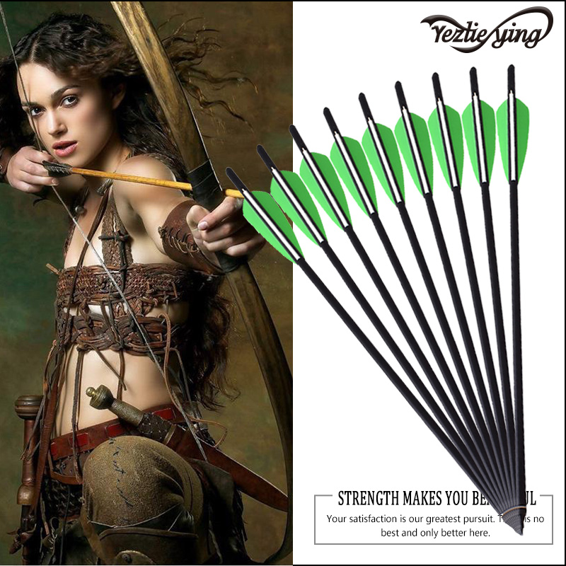 6pcs Hunting Carbon Arrows 16 1718 20 22length for your choose W/ Replaced Arrowhead/Tips For Recurve Bows