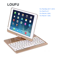 Loufu 360 Rotation Case For iPad 9.7 Inch 2018 Keyboard Bluetooth Wireless With Pro Air 2
