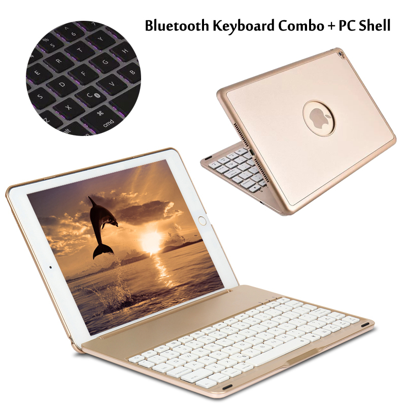 7 Colors Backlit Light Wireless Bluetooth Keyboard Case Cover For iPad 9.7 New 2017 2018 A1822 A1823 + Stylus + Film wireless bluetooth keyboard case cover for ipad 9 7 new 2017 a1822 abs plastic 7 colors backlit light keyboard for ipad pro 9 7