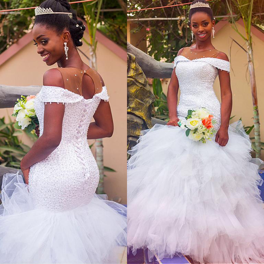 Fashionable Off The Shoulder Tulle Jewel Neckline Mermaid Wedding Dress With Beadings Ruffles Tulle Bridal Gowns