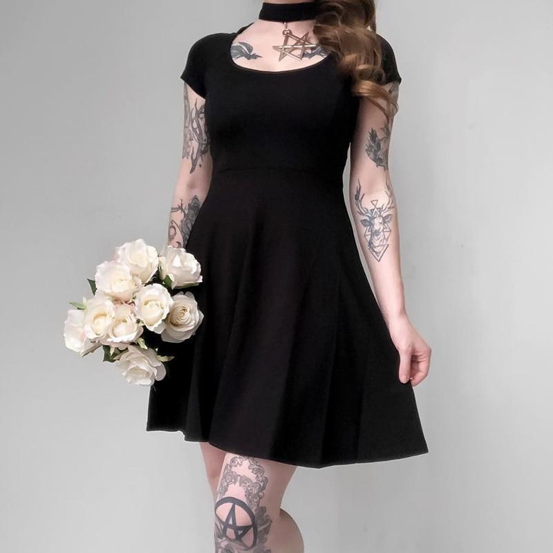 JIEZuoFang robe gothique femmes Punk étoile à Six branches col suspendu Slim robe noire décontracté Streetwear Mini robe femme métal étoile