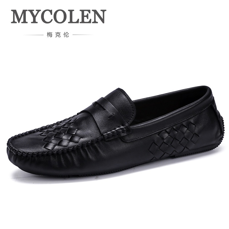 MYCOLEN Fashion Spring Style Soft Moccasins Men Loafers High Quality Genuine Leather Shoes Men Flats Gommino Driving Shoes