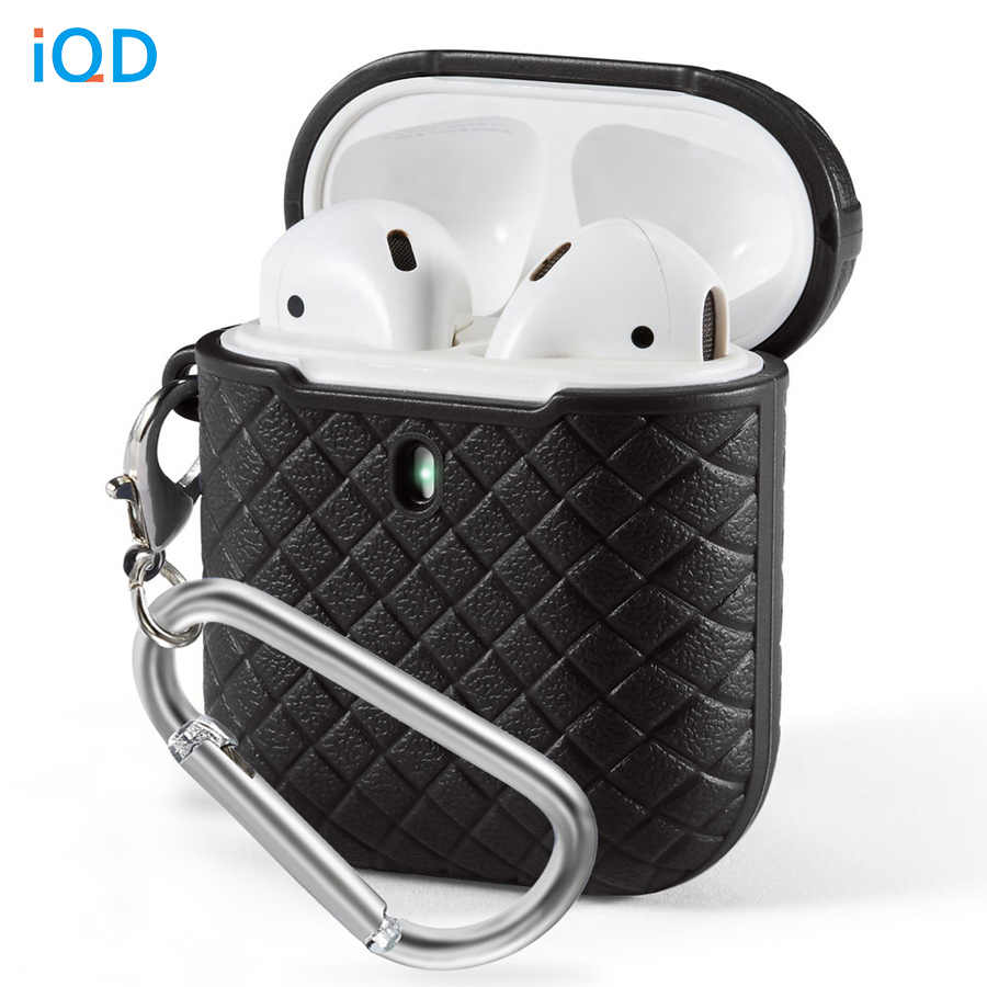 IQD For AirPods Case Slim Cover Portable Protective Textured Shockproof Woven Soft TPU for Apple AirPod 1 & 2 Accessories