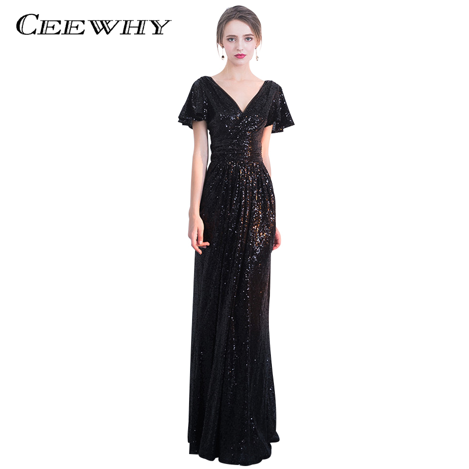 CEEWHY Ruffle Sleeve Black Dress Plus Size Evening Dress Sequinated ...