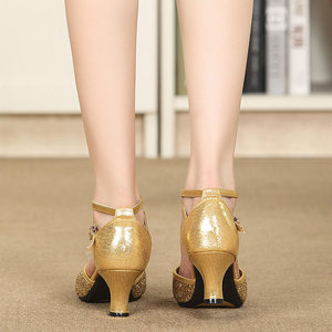 Image 5 - Latina tango sapatos de dança feminino conforto fechado dedo do pé menina moderno sapatos de dança de salão vermelho/preto/ouro sola macia sapatos de dança ao ar livre