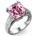 choucong Solitaire 8ct Pink simulated diamond Cz 925 Sterling silver Women Engagement Wedding Band Ring set Gift