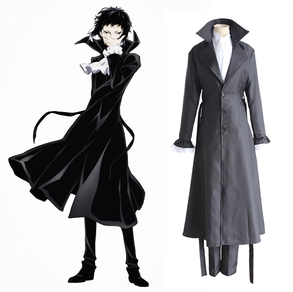 Anime Bungo Stray Dogs Ryunosuke Akutagawa Cosplay Costumes Full Set Detective Uniform ( Cloak + Shirt + Skirt + Pants + Scarf )