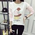 Venda quente Camiseta de Manga Longa Blusas Femininas 2016 T Shirt Mulheres Harajuku Kawaii Dos Desenhos Animados Urso Stripe Patchwork Camiseta Femme