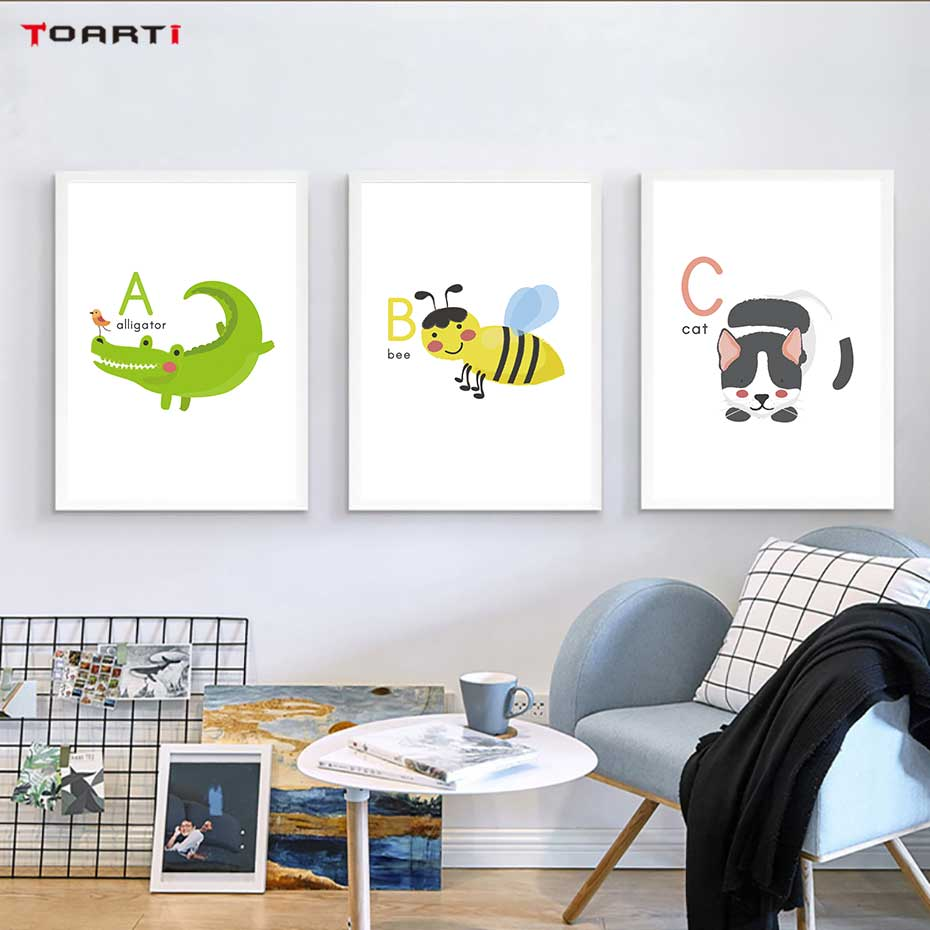 Image 3 - Cartoon Animals Alphabet Prints Posters Alligator Bee Canvas Painting On The Wall Colorful Art Pictures Kids Bedroom Home Decor-in Painting & Calligraphy from Home & Garden