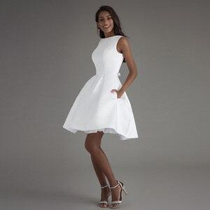 Image 3 - קצר חתונה שמלת 2020 חוף לבן כלה שמלות ללא משענת vestido דה noiva תמונה אמיתית חתונה מסיבת שמלה