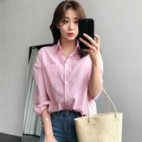 2017 Autumn New Style Simple All Matched Stripe Lady S Blouse Fashion Women S Clothing Turn