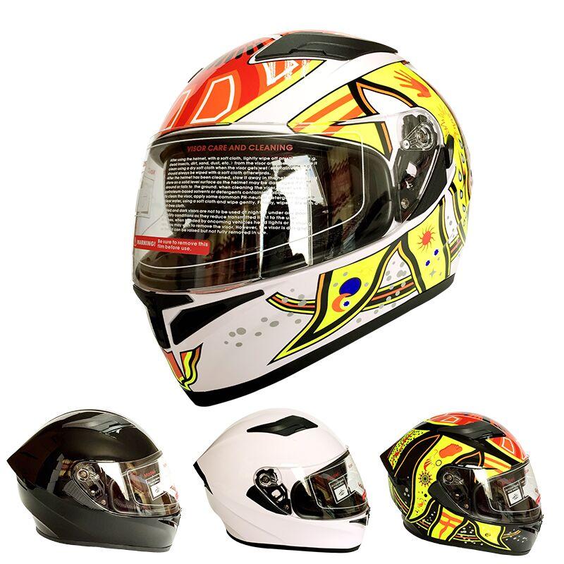 ФОТО DOT Approved Double Lens Motorcycle Full Face Helmet Street Racing Capacete
