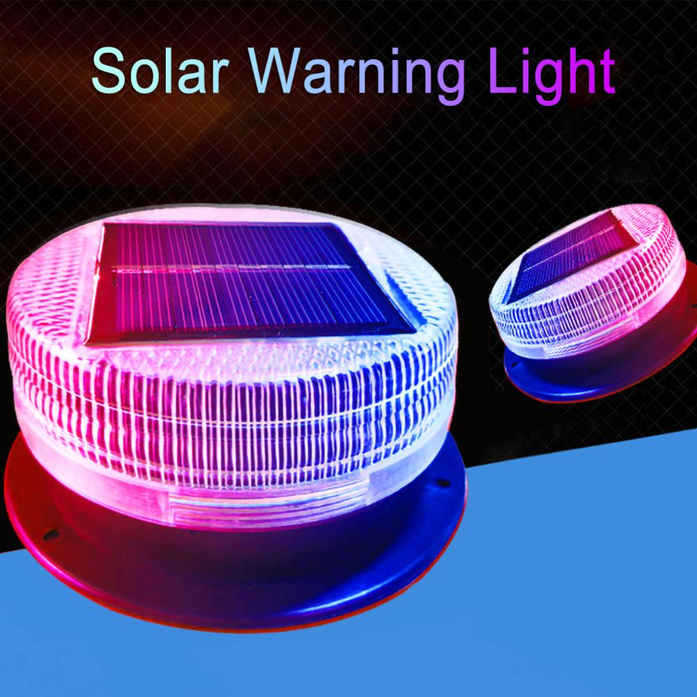 Solar Warning Light Red Blue Alternating Sensitive Strobe Flash 6 LED Safety Lamp Magnetic Mounted Outdoor For Car Vehicle Night