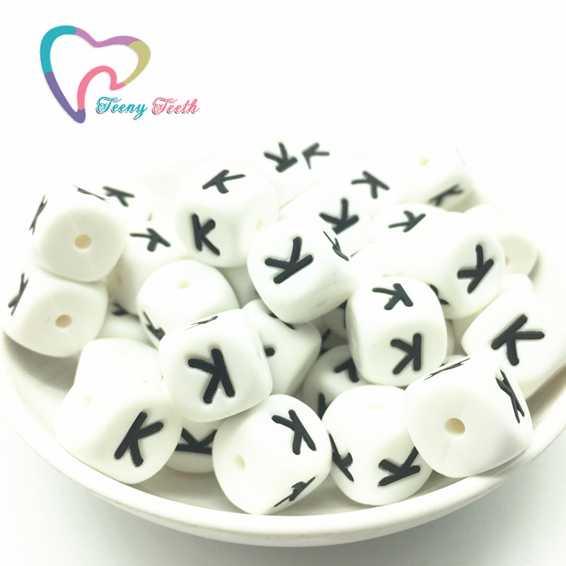 Teeny Teeth 10pcs A-z Silicone Alphabet Cube Beads,12 Mm Square,silicone English Letter Chewable Beads For Diy Teething Pendants Pleasant To The Palate Jewelry & Accessories