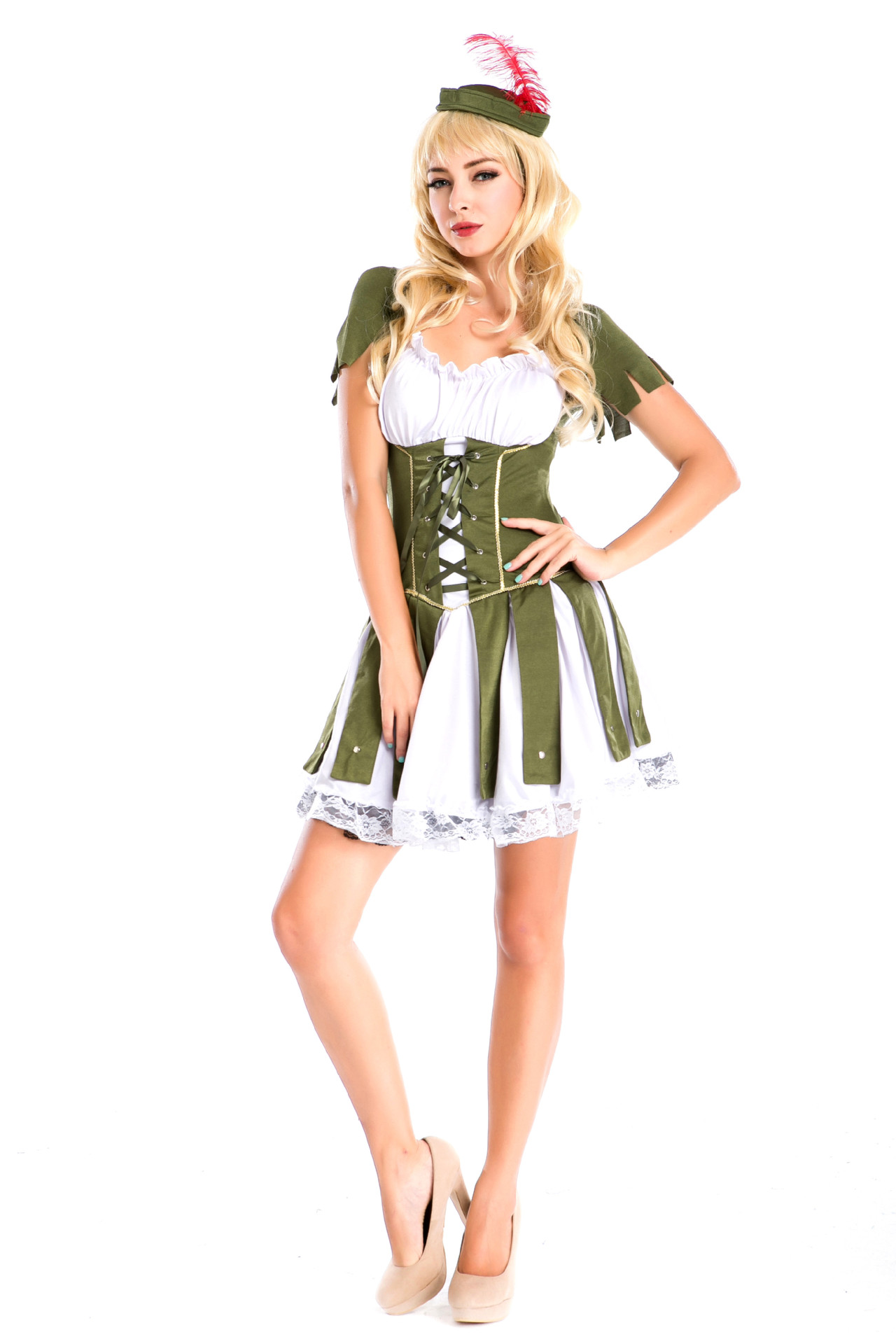 high quality new halloween costumes female pirate green role play