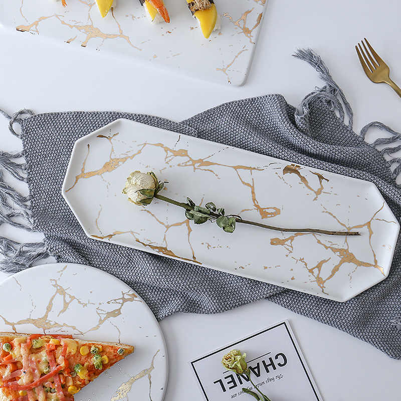 Lekoch Kreatif Marble Garis Besar Persegi Panjang dan Bulat Keramik Pizza Plate Peralatan Masak Porselen Sushi Peralatan Makan Grosir
