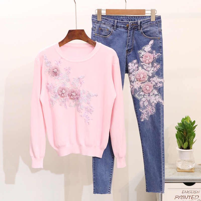 Весна 2019, Женский трикотажный свитер с вышитыми цветами и длинным рукавом, джинсовый костюм, женский вязаный Топ из двух частей, джинсовые штаны, комплекты