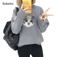 Kobeinc Girls Tracksuit Long Sleeve Sweatshirts Funny Cat Embroidery Moletom Casual O Neck Female Pullover Sudadera De Las Mujer