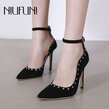 Fashion Suede Pointed Rivet Pump Elegant Womens Shoes NIUFUNI 2019 Summer New Arrival Black Roman Dress high Heels Ladies
