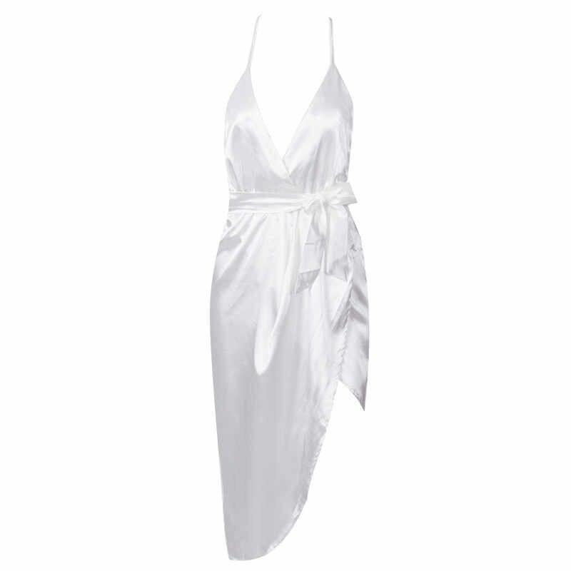 Gợi cảm Nữ Lụa Satin Không Đều Váy Mùa Hè Dây Chia Mini Nhiệt Tình Kẻ Đỏ Cổ V Nơ Thắt Nơ Đầm Dự Tiệc